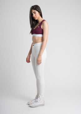 High Rise Cropped Jegging Pants in White View 2