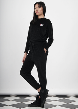 Velour Jumper in Black View 2