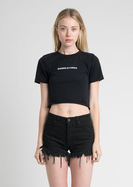 Staring is Caring Destroyed Crop Tee
