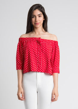Polka Dot Off Shoulder Button Up