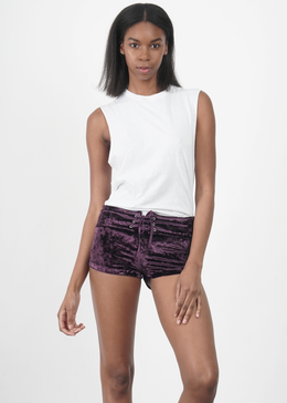 Plum Velvet Crush Shorts