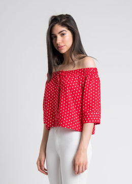 Polka Dot Off Shoulder Button Up View 2