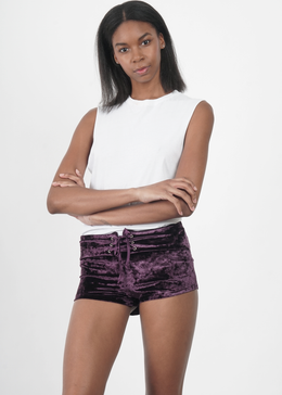 Plum Velvet Crush Shorts View 2
