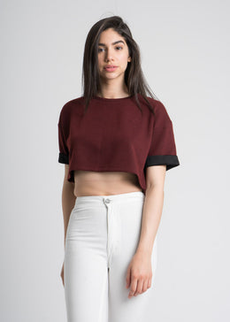 Leesa Crop Top in Maroon View 2