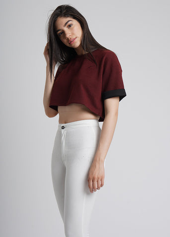 Leesa Crop Top in Maroon