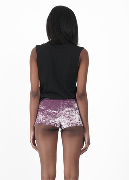 Lavender Velvet Crush Shorts View 2