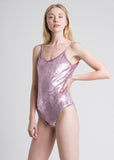 Stretch Velvet Pink Sleevless Bodysuit