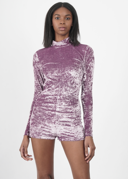 Velvet Crush Mock Neck Bodysuit in Lavendar View 2