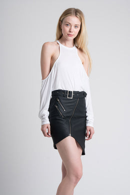 Faux Leather Biker Miniskirt View 2