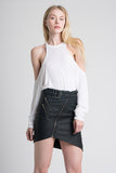 Faux Leather Biker Miniskirt