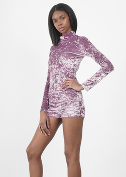 Velvet Crush Mock Neck Bodysuit in Lavendar