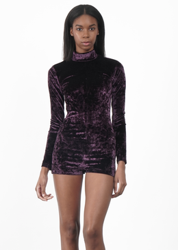 Velvet Crush Mock Neck Bodysuit in Plum