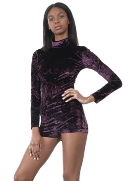 Velvet Crush Mock Neck Bodysuit in Plum View 2
