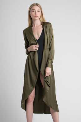 Satin Duster in Khaki View 2