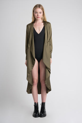 Satin Duster in Khaki