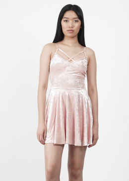 Velvet Crush Short Dress in Pink View 2
