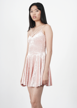 Velvet Crush Short Dress in Pink