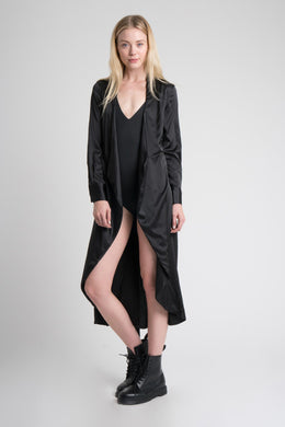 Satin Duster in Black View 2