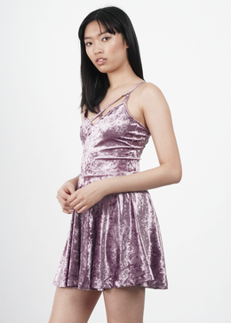 Velvet Crush Short Dress in Lavender
