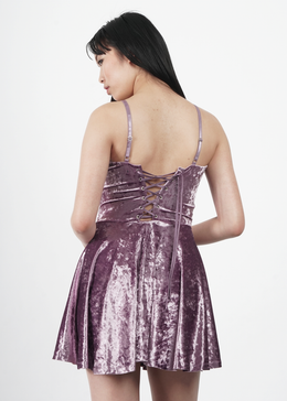 Velvet Crush Short Dress in Lavender View 2