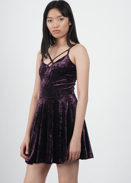 Velvet Crush Short Dress in Plum
