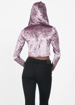 Velvet Crush Lace Up Hoodie in Lavender View 2