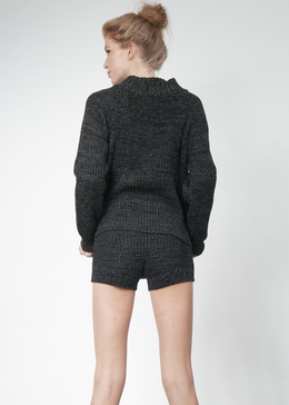 Knit Hotpants in Charcoal **Pre-Order, Ships 11/15** View 2