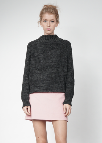 Knit Wideneck Jumper in Charcoal