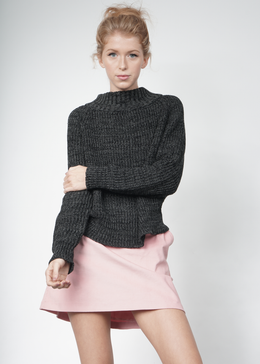 Knit Wideneck Jumper in Charcoal View 2
