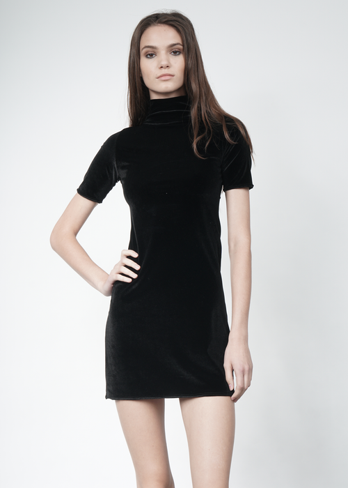 Velvet Mini Dress in Black