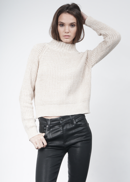 Knit Wideneck Jumper in Cream