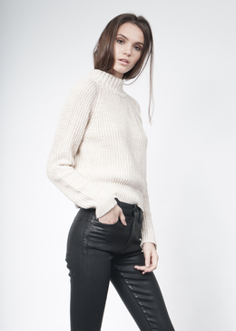Knit Wideneck Jumper in Cream View 2