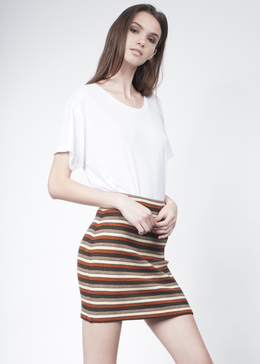 Marsha Striped Knit Mini Skirt View 2