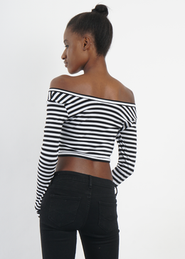 Long Sleeved Black and White Striped Crop View 2