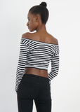 Long Sleeved Black and White Striped Crop