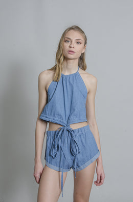 Daisy Denim Halter Top View 2