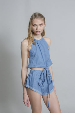 Daisy Denim Halter Top