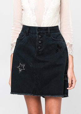 Star Embroidered Black Denim Skirt