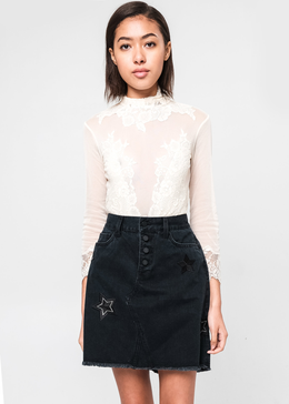 Star Embroidered Black Denim Skirt View 2