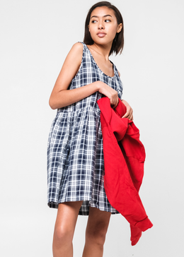 Blue Plaid Sleeveless Smock View 2