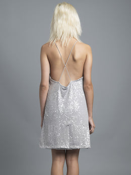 Grey Sequin Slip Dress View 2