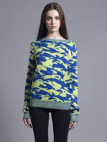 Green & Navy Camo Sweater