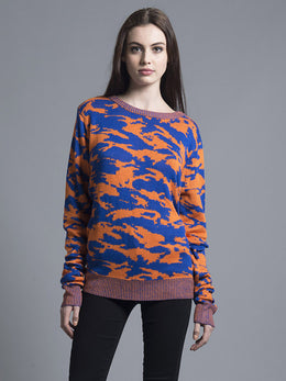 Orange & Navy Camo Sweater