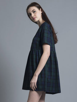 Green Tartan Smock Dress View 2