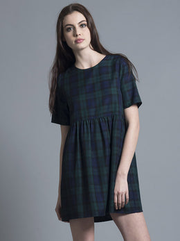 Green Tartan Smock Dress