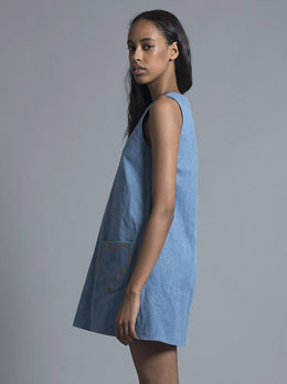 Blue Chambray Heart Pinafore View 2