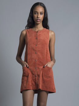 Burnt Orange Corduroy Pinafore
