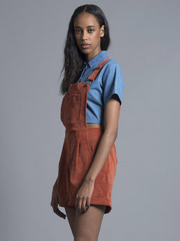 Polly Burnt Orange Corduroy Dungarees View 2
