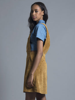 Mustard Corduroy Pinafore Dress View 2