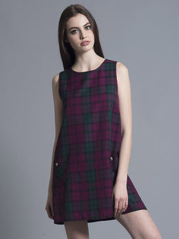 Purple Tartan Shift Dress